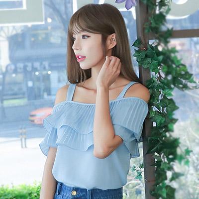 性感露肩一字領百褶荷葉邊雪紡上衣 (藍色)-Kugi Girl