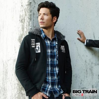 BIG TRAIN 軍事潮流連帽外套-男-黑色