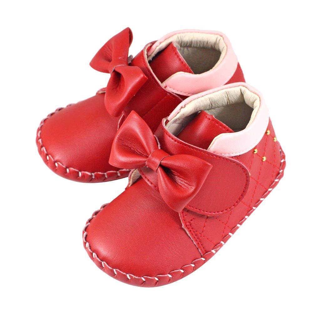 Swan天鵝童鞋-菱格紋大蝴蝶結寶寶鞋 1534-紅