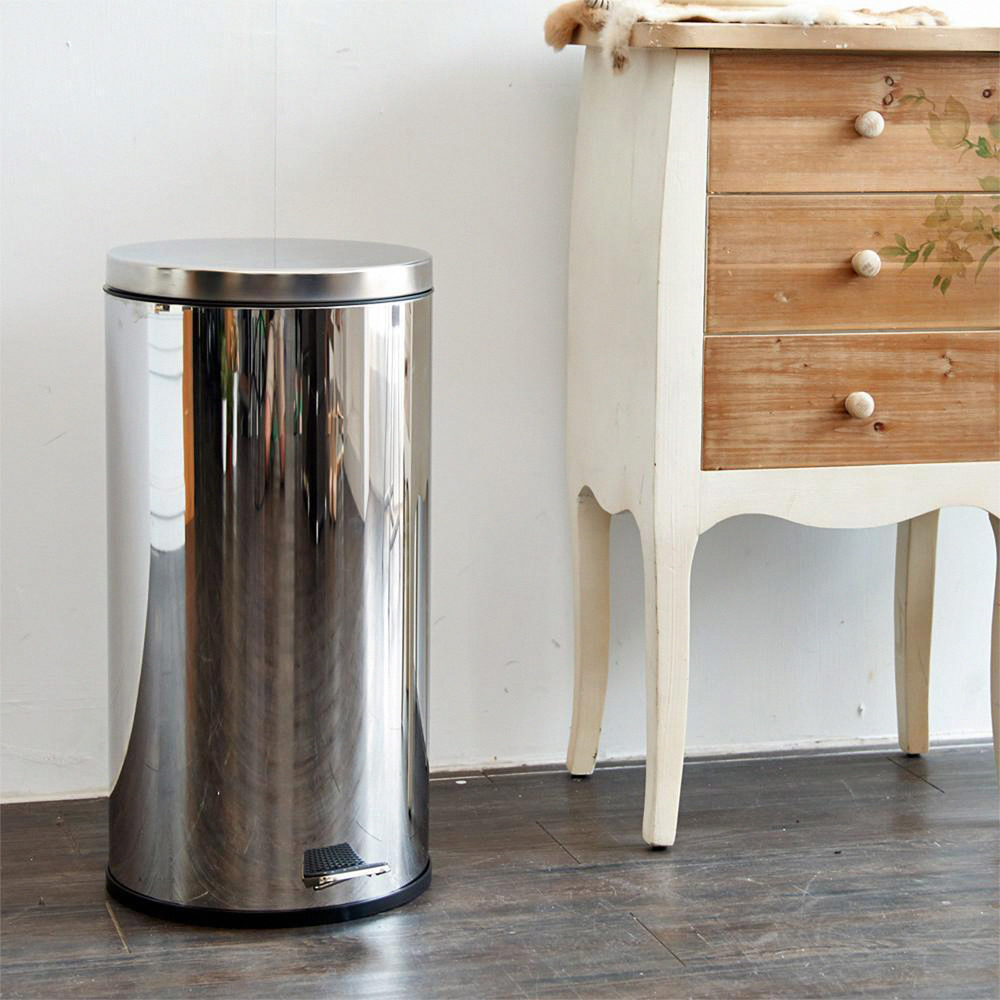 H&R安室家 台灣製造不鏽鋼腳踏垃圾桶-30L