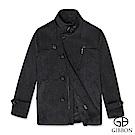 GIBBON 排扣立領羊毛大衣‧灰色L-3L