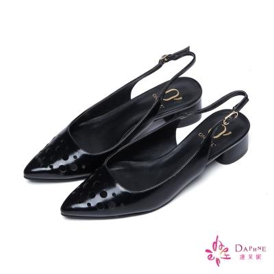 達芙妮x高圓圓-圓漾系列圓形鏤空後拉帶低跟鞋-好感黑