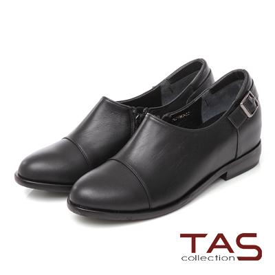 TAS 質感素面皮帶扣低口牛津鞋-經典黑
