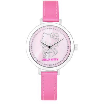 Hello Kitty 甜美懷舊經典40週年晶鑽腕錶-粉/34mm