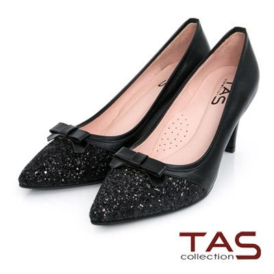 TAS-蝴蝶結璀璨碎石拼接尖頭跟鞋-時尚黑