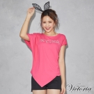 Victoria LOGO貼片不對稱設計短袖T-女-桃粉