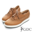 GDC-真皮繫帶雕花沖孔厚底休閒鞋-棕色