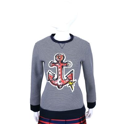 RED VALENTINO 深藍x白色船錨圖案條紋長袖上衣