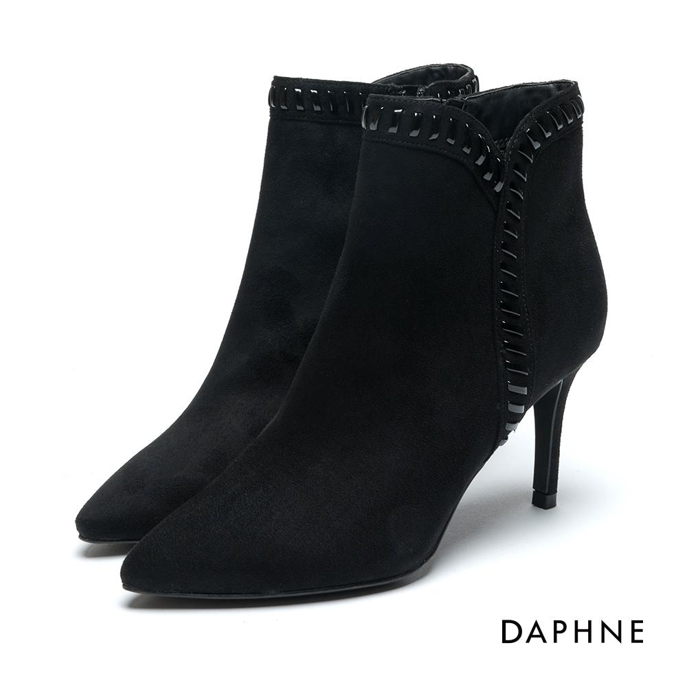 達芙妮DAPHNE 短靴-絨布漆皮細繩編織高跟踝靴-黑