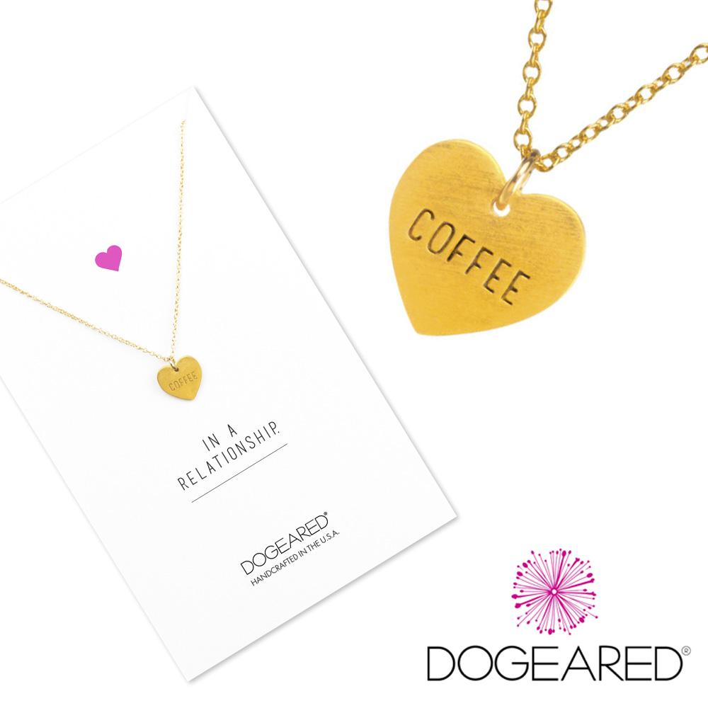 Dogeared 手工刻字愛心金色項鍊 coffee 就愛咖啡