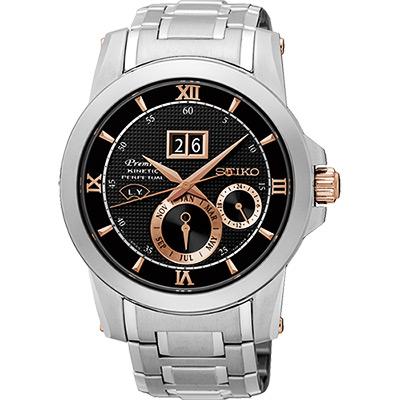 SEIKO 精工 Kinetic 萬年曆大視窗腕錶(SNP136J1)-41mm