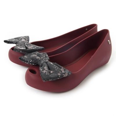 MELISSA-雙色大蝴蝶結鞋魚口鞋-酒紅-黑