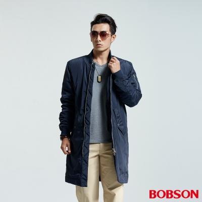 BOBSON  男款長版鋪棉外套-藍色