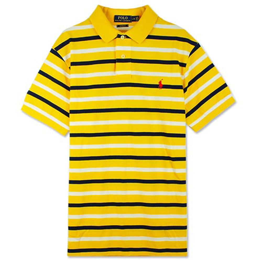 Ralph Lauren 小馬條紋POLO衫(黃白)