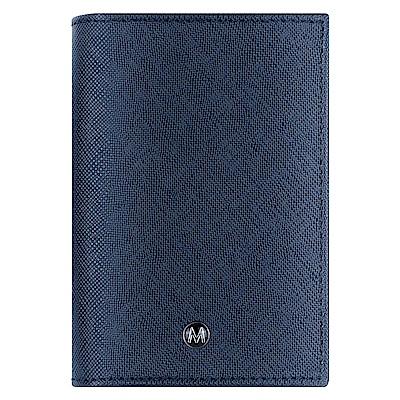 MONDAINE 瑞士國鐵牛皮十字紋豪華型名片夾-藍x米