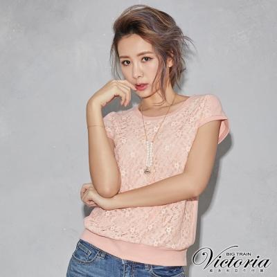 Victoria 蕾絲布拼接短袖T-女-粉橘