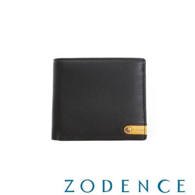 ZODENCE MAN 義大利牛皮系列低調配色LOGO拉鍊零錢袋短夾 咖