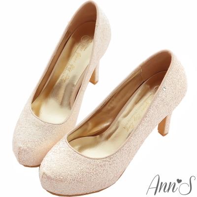 Ann'S Bridal幸福婚鞋閃耀單鑽厚底跟鞋-粉