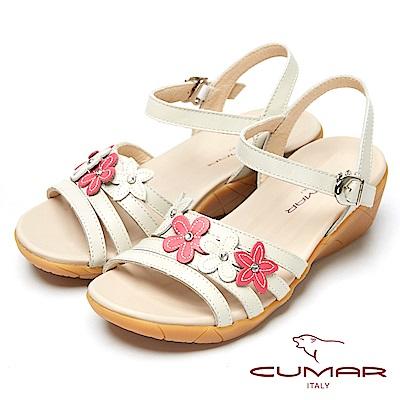 CUMAR心花怒放-皮革花飾真皮坡跟涼鞋-白色
