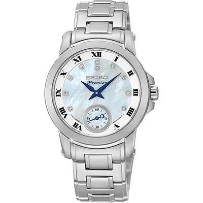 SEIKO Premier 羅馬佳人晶鑽小秒針女錶(SRKZ61J1)-珍珠貝x銀/31mm