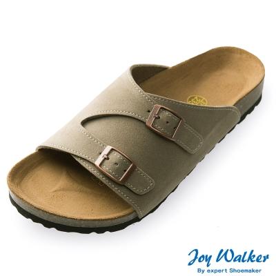 Joy Walker 素面休閒寬版拖鞋*卡其色