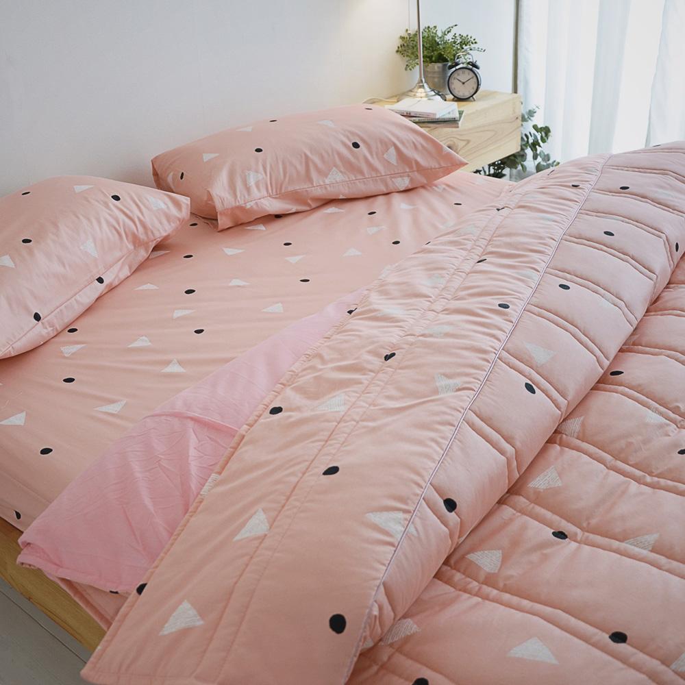 絲薇諾 MIT精梳純棉 法式甜派-粉色 加大四件式-薄床包鋪棉被套組
