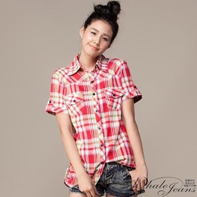 WHALE JEANS 夏日清麗佳人雙口袋格紋加大款襯衫(2色)