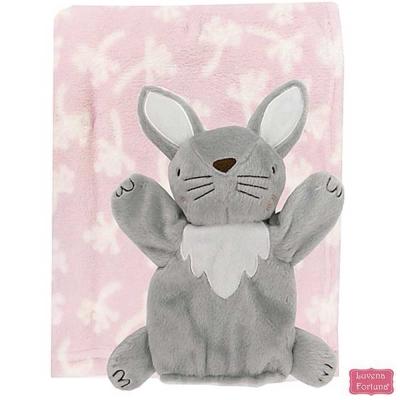 LILY & JACK 英國 粉紅小兔安撫玩偶+嬰兒毯2件組