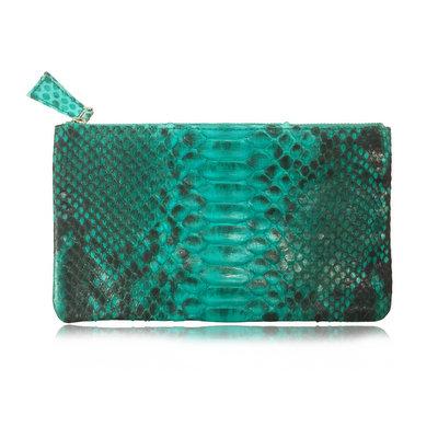 ACUBY 限量單品手工蛇皮長款手拿包/斑點綠