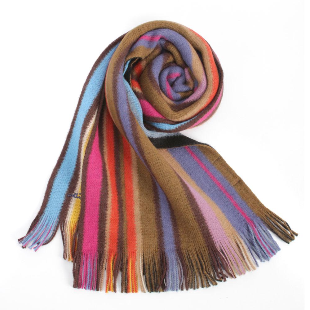 【Paul Smith】 彩色直條紋雙面羊毛圍巾-咖啡/粉色