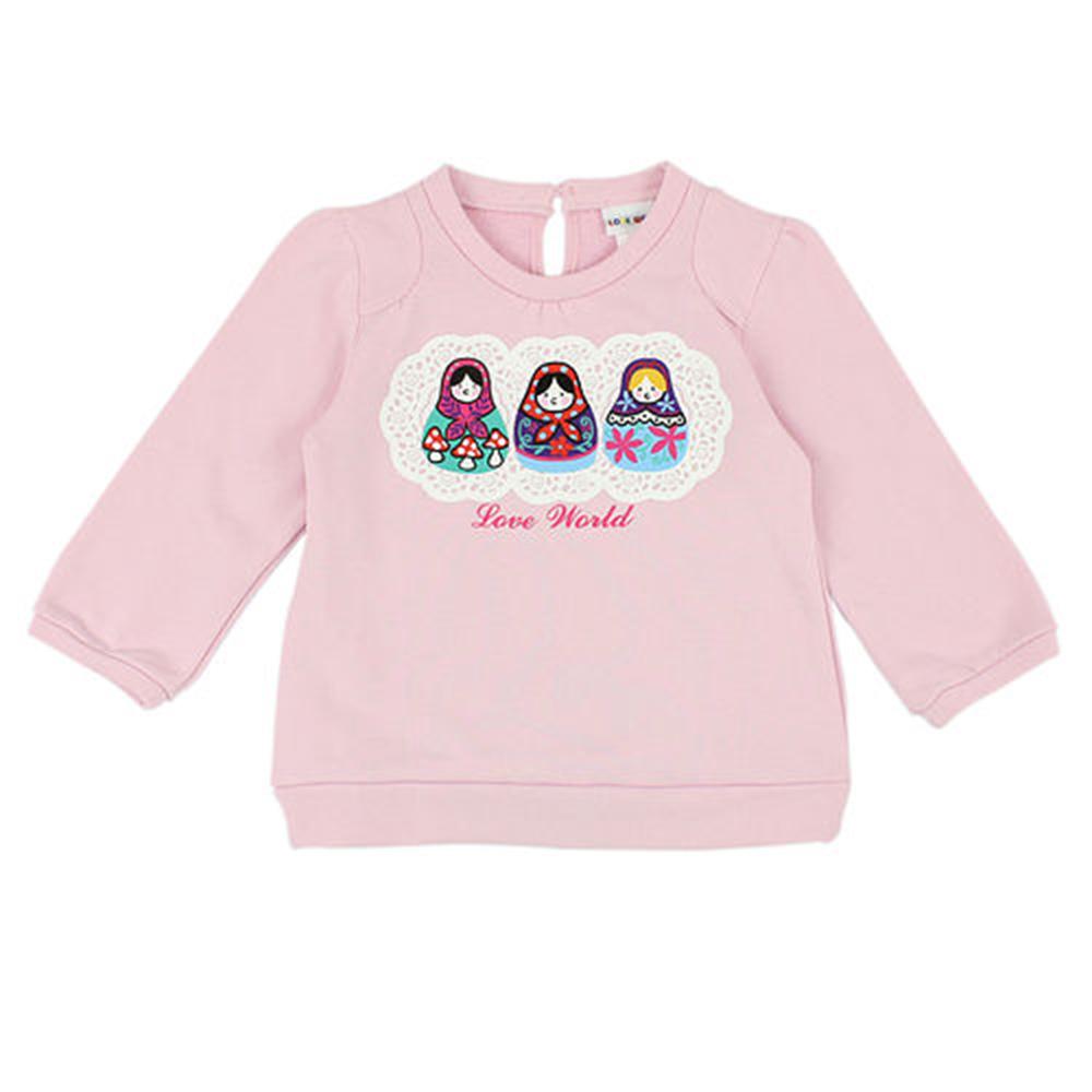 愛的世界 俄羅斯娃娃後扣束口長袖上衣-粉/2~4歲