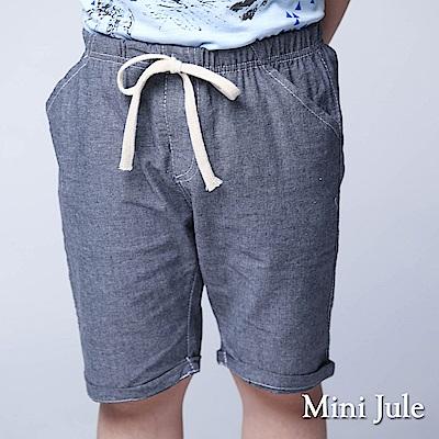 Mini Jule 童裝-短褲 綁帶素面鬆緊反摺短褲(藍)