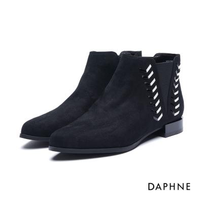 達芙妮DAPHNE 短靴-撞色漆皮細條編織絨布低跟踝靴-黑