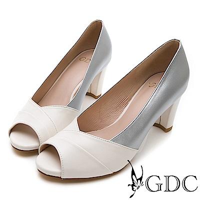 GDC-時尚銀色系交叉魚口跟鞋-白色