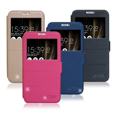VXTRA 華碩ZenFone 3 Ultra 6.8吋經典金莎紋商務視窗皮套