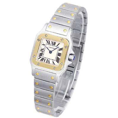 Cartier Santos 經典石英18k錶框女錶-米白/24mm