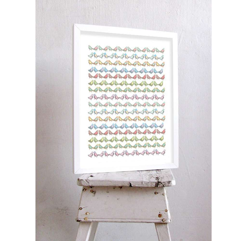 西班牙插畫家Judy Kaufmann藝術版畫-小小鳥(設計掛畫附簽名/含木框)
