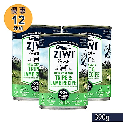ZiwiPeak巔峰 92%鮮肉狗罐頭 *羊肚羊肉*390g-12件組