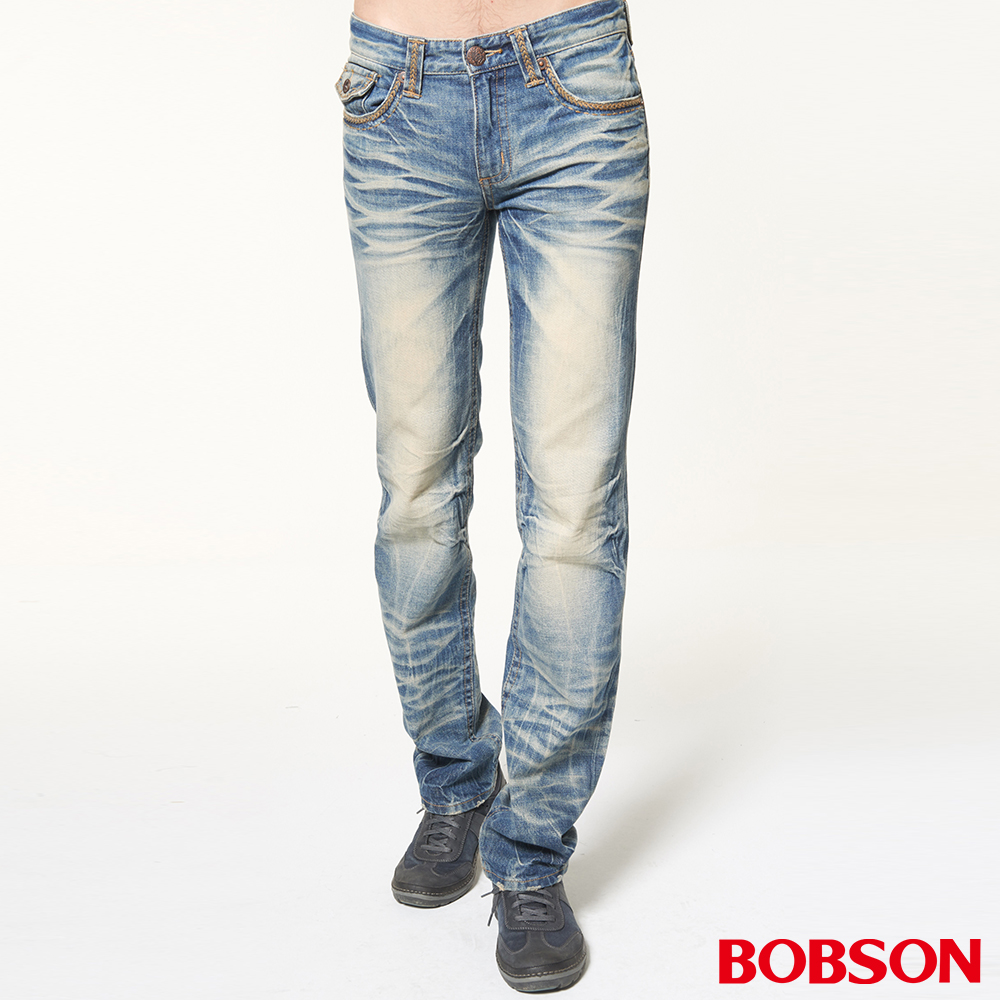 BOBSON 男款立體貓鬚壓摺直筒褲