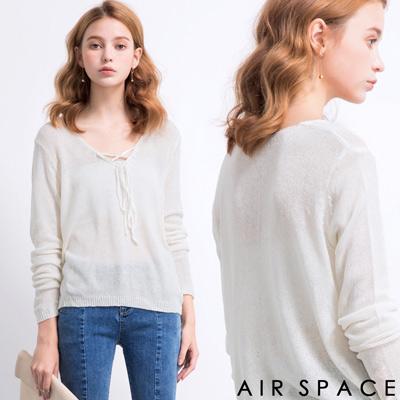 AIR-SPACE-甜美綁帶薄針織上衣-白