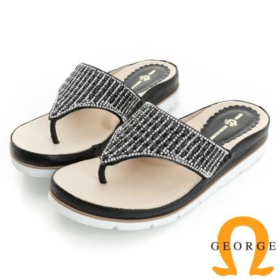 GEORGE 喬治-舒適系列 水鑽裸膚透感夾腳涼拖鞋(女)-黑色