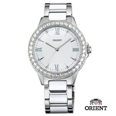 ORIENT 東方錶 DRESS系列 時尚晶鑽羅馬字陶瓷女錶-白/34mm