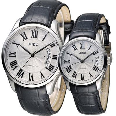 美度 MIDO Belluna II 雋永系列羅馬戀人機械對錶-白x黑/40+33mm