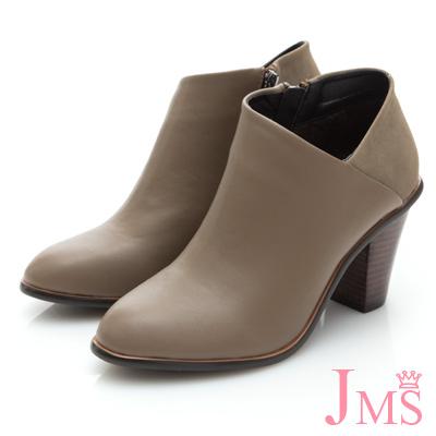 JMS-韓版拼接性感側斜V領踝靴-卡其色