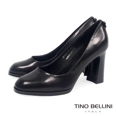 Tino Bellini 自信姿態全真皮8cm跟鞋_黑