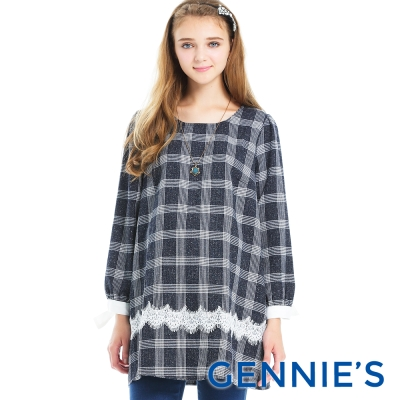 Gennies專櫃-格紋蕾絲公主袖洋裝(T1A13)-藍格紋