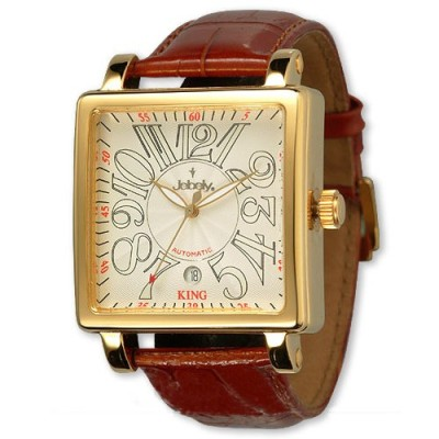 Jebely 萊茵河之戀系列 金色年華方框造型錶白x金框/38mm