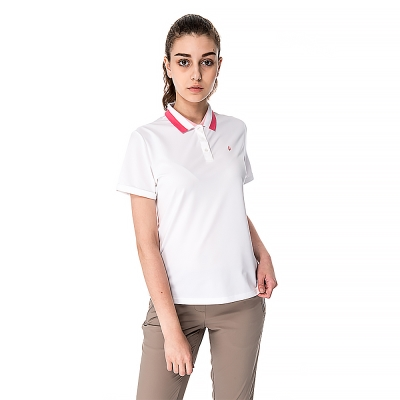 【hilltop山頂鳥】女款速乾抗UV吸濕排汗彈性POLO衫S14FC7白