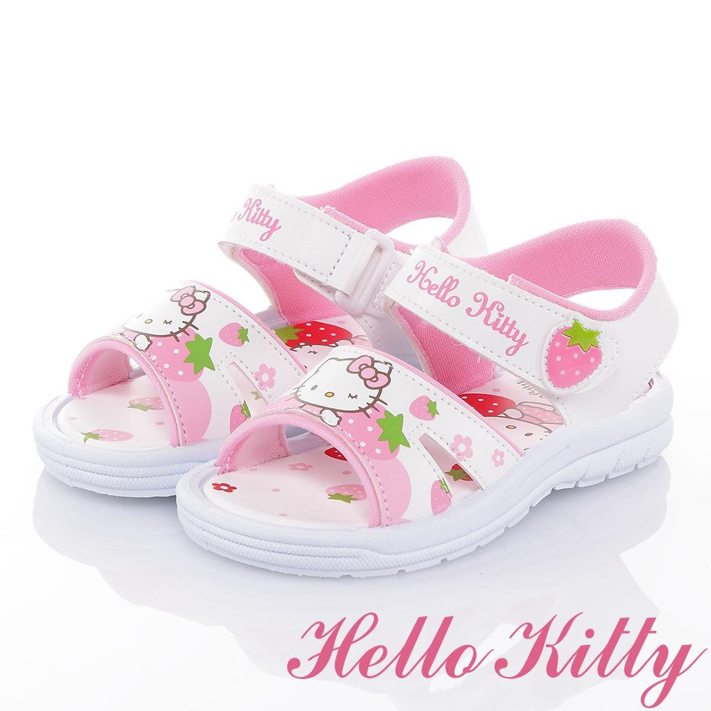 HelloKitty 草莓系列 可愛舒適輕量休閒涼童鞋-白