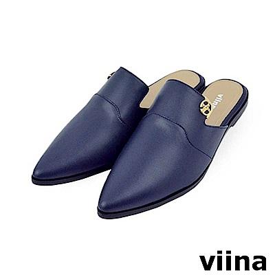 viina-質感尖頭平底穆勒鞋-藍色